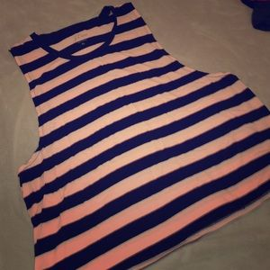 J. Crew pink and navy muscle tank